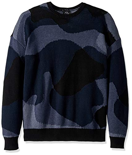 A|X Armani Exchange Men's Abstract camo Print Pullover Sweater, Black/Java/Incense/B, M