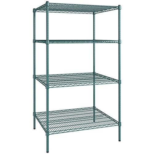 30 inch. x 36 inch. NSF Green Epoxy 4-Shelf Kit with 64 inch. posts. Useful at Home, Garage, Catering, Children's Shelters, Shop, Kitchen, Restaurants, Offices, Warehouse, Basements.