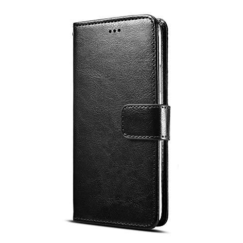 Fertuo Ulefone Note 7 Hülle, Handyhülle Leder Flip Hülle Tasche mit Standfunktion, Kartenfach, Magnetschnalle, Silikon Bumper Schutzhülle Wallet Cover für Ulefone Note 7 Smartphone, Schwarz