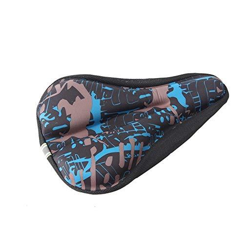 Frieed Cojín Moto Cubierta Impreso Camuflaje Acolchado sillín Ciclismo no Slip Mat Asiento sillín Durable (Color : Blue)