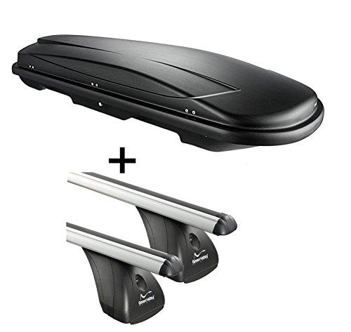 Coffre de toit vdpjuxt400 400Ltr Noir verrouillable + Aurilis barres de toit en aluminium pour Fiat 500 L (5türer) à partir de 2012