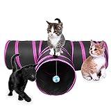 Lauva Juguete de túnel para gatos, plegable, 3 vías divertidas, para hacer ejercicio y jugar con gato con hierba gatera, la mejor casa de juego para conejos, gatitos y perros (negro y rosa)