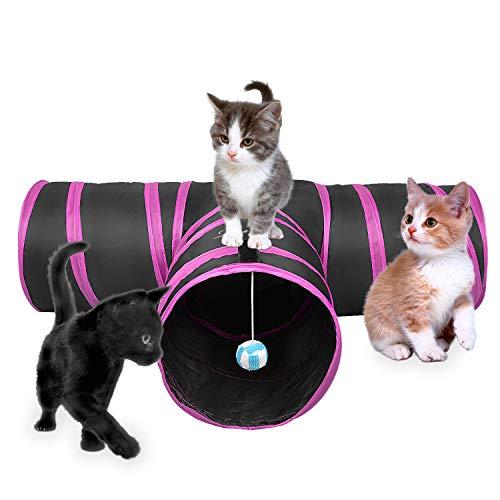 Lauva Katzentunnelspielzeug, Zusammenklappbar 3-Wege-Spaßlauf Training Spielen Katzenspielzeug mit Katzenminze, Spielhaus für Kaninchen, Kätzchen , Hunde (Schwarz und rosa)