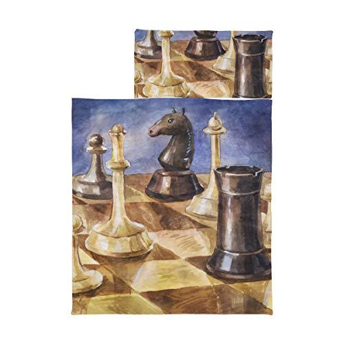 Nickerchenmatte für Kleinkinder Jungen Schachbrett mit Schachfiguren auf schwarzem Camping Nickerchenmatte Weiche Mikrofaser Leichte Roll-Up Nickerchenmatte für Kleinkinder Perfekt für Vorschule, Ki
