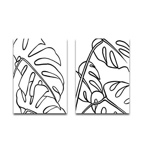 Canvas schilderij kunst aan de muur lijntekening Monstera poster plant palmbladeren print moderne foto voor woonkamer decor 40x50 cm / 15,7