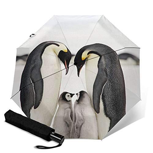 Pinguin Faltbarer Regenschirm, winddicht, UV-Schutz, kompakter Regenschirm für Reisen, täglichen Gebrauch