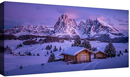 Canvashop Quadri Moderni Dolomiti cm 120x60 Stampa su Tela XXL Quadro Moderno Natura Montagna (Alpe di Siusi)