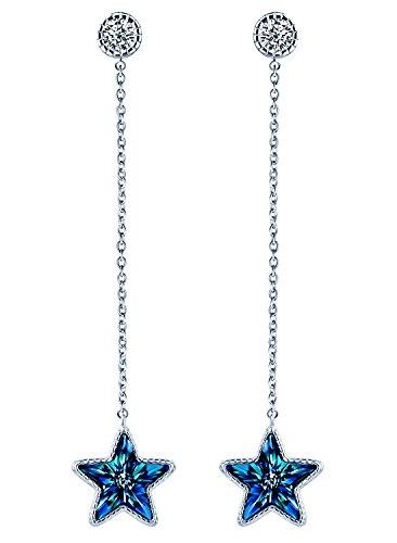MicLee Pendientes Largos para Mujer ¨Estrella Brillante¨ Plata de Ley 925 Cristal Azul con Borla Ondulada Pendientes