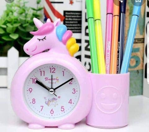 Economical Store 91 Plastic Unicorn Table Top Alarm Clock for Children's Side Table Room Decor with Pen Stand Random Color Birthday Gift Return Gift Ideas (Pink , Blue or White)