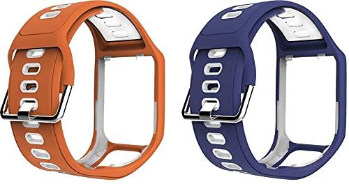 Gransho Correa de Reloj Compatible con Tomtom Spark/Spark 3 / Runner 2 / Runner 3 / Golfer 2 / Adventurer, Silicona Banda de Reemplazo Pulsera (Pattern 3+Pattern 7)