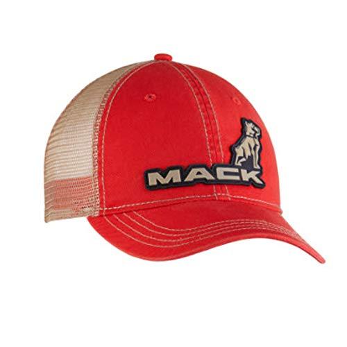 Diesel Power Plus Mack Trucks Vintage Red Cap Tan mesh Snap Back 3D Logo Hat
