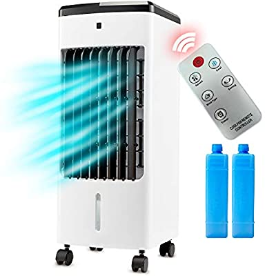 NETTA Portable Air Cooler with Remote Control and LED Display, 3 Fan Speeds with Oscillation Function, 12 Hour Timer and 4 Litre Water Tank Supplied with 2 Ice Packs