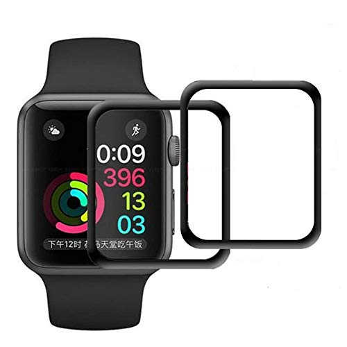 Pellicola Vetro Temperato per Apple Watch 42mm Series 1 / Series 2 / Series 3, Electro-Weideworld 3D Full Coverage Pellicola Protettiva per Apple Watch 42mm, Durezza 9H,Anti-riflesso,Ultra-Clear