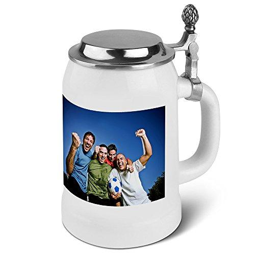 PhotoFancy® - Bierkrug mit Foto Bedrucken - Krug Personalisieren - Humpen mit eigenem Motiv selbst gestalten (Bierkrug mit Deckel 0,5 L)
