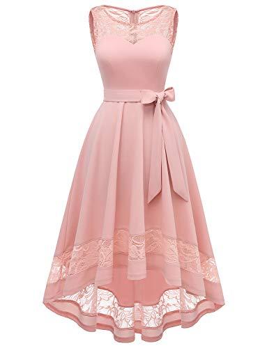 Gardenwed Vokuhila Kleid aus Spitze Floral Lace Vintage Kleider für Party Brautkleider Cocktailkleider Rosa Blumenkleid Blush L