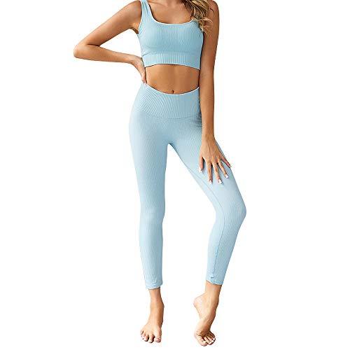 CNASA Trajes de Ejercicio para Mujeres 2 Piezas Trajes de Yoga sin Costuras Sujetador Deportivo y Conjunto de Mallas Chándales 2 Piezas