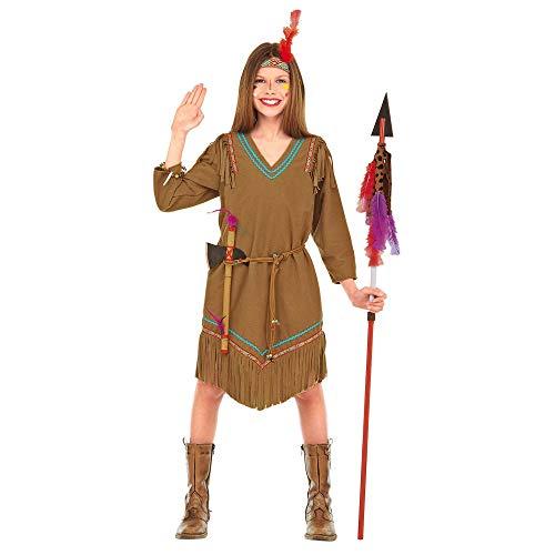 Widmann 42926 - Kinderkostüm Cheyenne, Kleid, Gürtel, Stirnband mit Feder, Indianer, Ray of Moonligth, Fasching, Karneval, Mottoparty