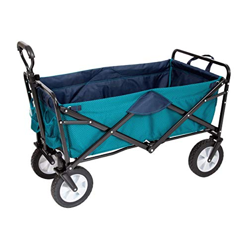 MacSports Classic Collapsible Folding Outdoor Utility Wagon | Heavy Duty Cart w/Wheels for Groceries, Sports Equipment, Gardening, Camping, Tailgating | Two Tone Teal/Navy | 32.5' L x 17.5' W Basket