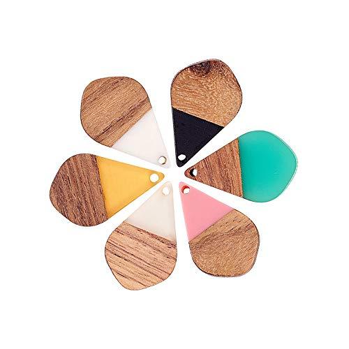 Stiesy Juego de 30 colgantes de madera de resina con forma de lágrima vintage de madera de resina para joyería para pulseras, collares y pendientes, 28 x 18 x 3 mm