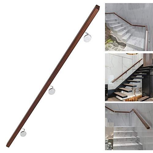 XJZKA Pasamanos, pasamanos de Madera rústicos Antideslizantes para escaleras |contra la Pared Interior Loft Barandillas para Personas Mayores Barandillas de Seguridad |Kit Completo de ✅