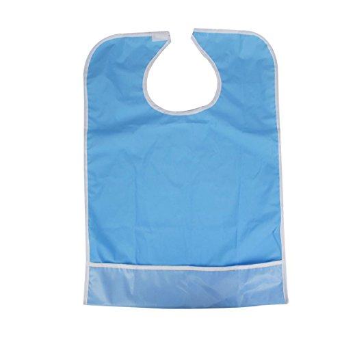 ULTNICE Babero para Adulto Impermeable Babero Adulto Reutilizable (azul claro)
