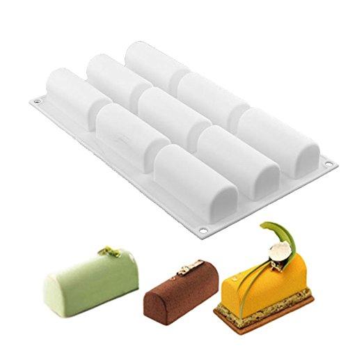 Silikonform mit 9 Mulden, für Schokolade, Desserts, Twinkie, Tee-Zeit, Kuchen, Polvoron, Süßigkeiten, Gebäck, Weiß
