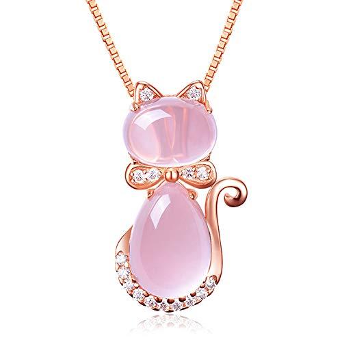 CHIFEI Hermoso Collar Cristal en Forma de Gato Corazón Gota de Agua con Dije Piedra Natural (Gato)