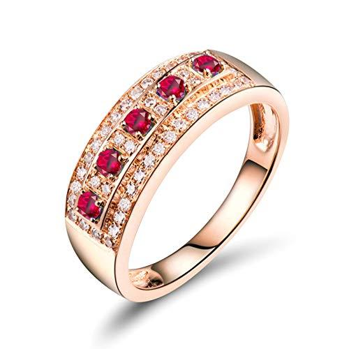 Bishilin Anillo Oro Rosa 750 Reales, 0.15ct Rubí Rojo Rosa con Diamante Anillo de Bodas para Mujer Elegante Anillo de Fiesta de Cena Alianzas de Boda para Cumpleaños Navidad Talla: 9,5