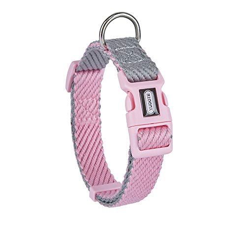 Petiry Soft Cotton Dog Collar,Super Comfy and Lightweight,No Rubbing Non-irritating for Puppies and Small Dogs with Sensitive Skin,Contrast Colr Pink/Grey Color, Small Dogs