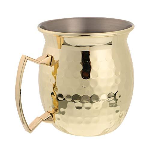 Hemoton Taza de Cóctel de Acero Inoxidable Tazas de Mula de Moscú Tazas de Cóctel con Asas Tazas Martilladas Copa de Vino Taza de Whisky Tazas Rústicas