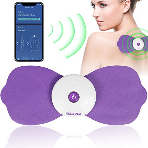Rechargeable Wireless Bluetooth Tens Unit - Phone APP Control Muscle Stimulator Massager Device TENS Machine Pulse Physiotherapy Body Mini Massager for Back Shoulder Leg Neck Pain Relief