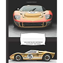 "College Ruled Notebook: Blank lined book for fans of the ""Ford vs Ferrari"" movie (gold 1966 Ford GT40 Mk2 cover)"