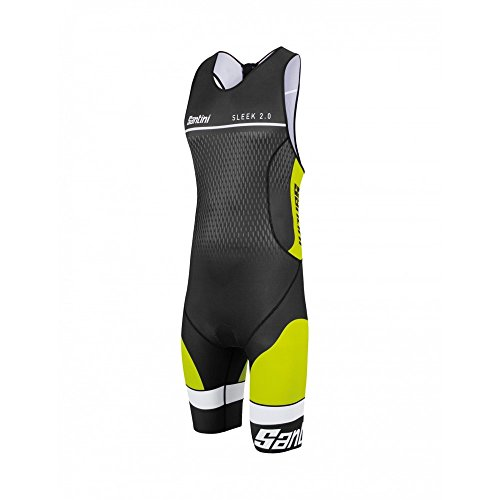 Santini Sleek 2.0, Body Triathlon Uomo, Giallo, XS