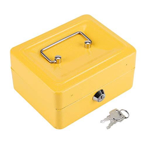 Buachois Cajas de Efectivo Mini Portátil, Pequeña, de Acero, Caja Fuerte de Seguridad con 2 Llaves para Niños, Adultos, Oficina en Casa, 5.9'x 4.72' x 2.95'(Amarillo)