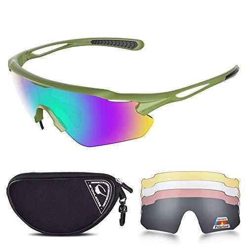 Snowledge Fahrradbrille mit 5 Wechselgläsern UV 400 Schutz Polarisierte Sportbrille Sonnenbrille für Herren Damen Laufen Klettern Angeln Fahren Golf