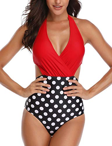 heekpek Costume da Bagno Intero Donna Vita Alta Bikini Imbottitura Swimsuit Estraibile per Donna Beachwear Regolabile Fascia Costumi Interi Donna Un Pezzo Mare