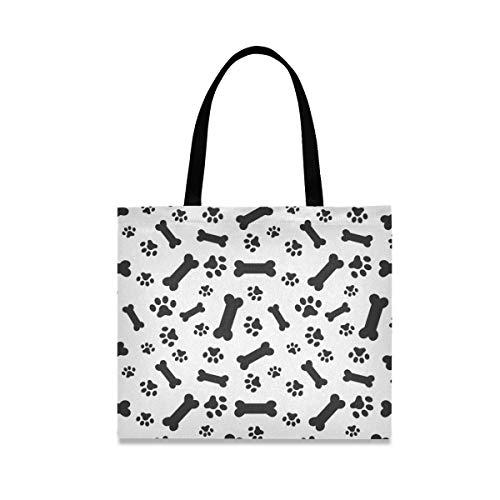 Bolso de lona lindo del perro del animal doméstico de los huesos de las patas de las huellas de la compra bolso reutilizable del paño de la tienda de comestibles bolsos de hombro