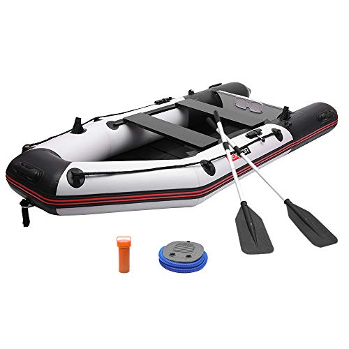PEXMOR 7.5ft Inflatable Dinghy Boat 0.9mm PVC Sport Tender Fishing Raft Dinghy with Trolling Motor Transom,Full Floor and Fishing Rod Holders - Fit 2 People (Black Grey)