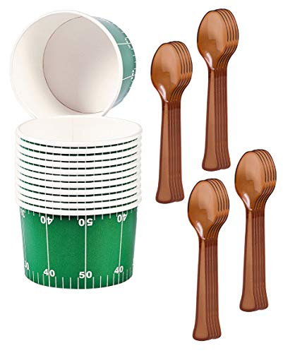 Football Party Supplies - Paper Chili Food and Snack Bowls and Brown Plastic Spoons (Serves 12)
