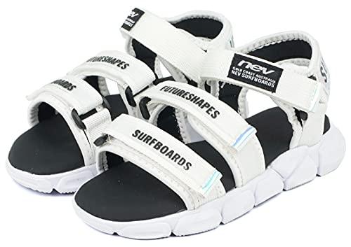 [セレブル] (ネブサーフ) NEV SURF 軽量 スポーツサンダル キッズ 女の子 子供靴 面ファスナー 履きやすい ホワイト/ブラック 23cm
