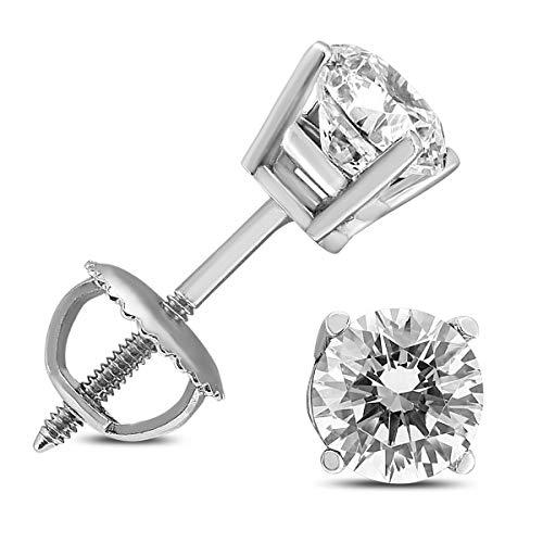 Aretes solitarios de diamantes redondos de 1/2 quilate con certificado TW AGS en oro blanco de 14 quilates con tornillos
