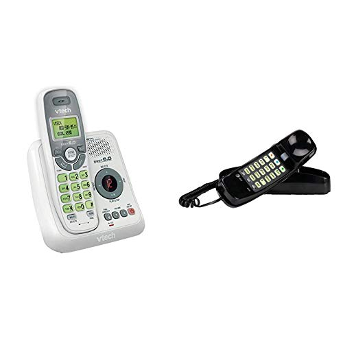 VTech CS6124 DECT 6.0 Cordless Phone with Answering System and Caller ID/Call Waiting, White with 1 Handset & AT&T 210 Basic Trimline Corded Phone, No AC Power Required, Wall-Mountable, Black