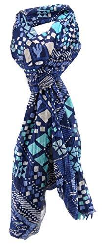 zonder merknaam sjaal in turquoise blauw donkerblauw grijs beige patroon - sjaal afmeting 180 x 50 cm