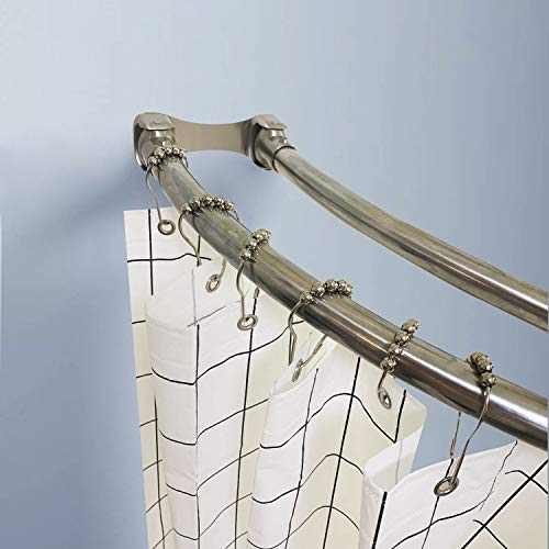 Naiture Stainless Steel 60'' Double Curved Shower Curtain Rod, Brushed Nickel Finish