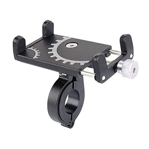 Soporte de teléfono para bicicleta universal ajustable para motocicleta, soporte de teléfono de aluminio, soporte para teléfono móvil antisacudidas, sin traqueteo para moto de montaña (negro)