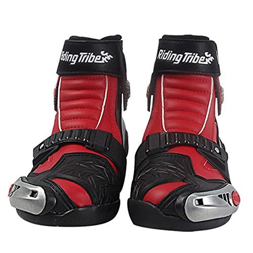 PGthree Zapatos de Motocicleta con Protectores de cáscara Dura adjuntos, Botines de Ciclista Red - Botas de Motocicleta Racing, VTT MX Scrambler Offroad Motocross Boots (Size : EU45)