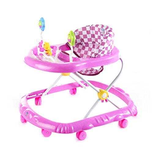 HAIZHEN Kinderwagen Baby grün/Pink Gehhilfe 6-18 Monate Baby Anti-Überschlag Multifunktion Zusammenklappbar Mit Musik Kind Wagen 66 * 56 * 57 cm Für Neugeborene (Farbe : Pink)