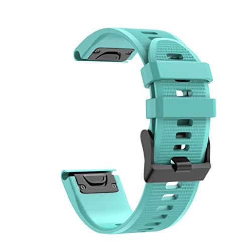 Sallydream Correa para Garmin Fenix 5X Plus Watch Band Banda Strap Deportiva Cómoda Soft Ligera Silicona Wristband (Menta Verde)