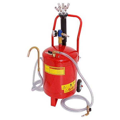 ECD Germany Aspirador de Aceite 24 litros Extractor Neumático de Fluidos de Vacío Tanque con Ruedas Sonda de Succión Recuperación Cambio de Aceite Medidor Regulador de Presión para Motor de Vehículos