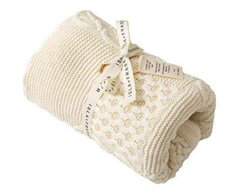 Isla + Fraser Bio-Baumwolle Zelluläre Baby-Decke | 70cm x 90cm | Creme Zopfstrick